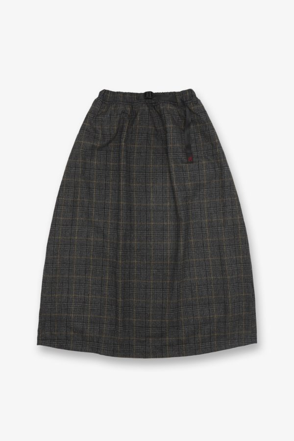 WOOL BLEND LONG FLARE SKIRT GLEN CHECK GREY
