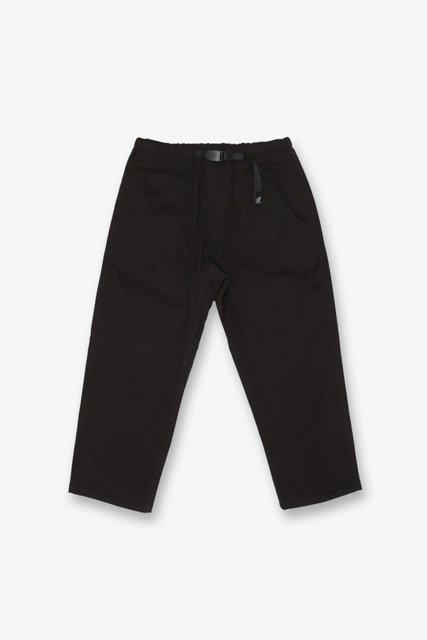BONDING TWILL LOOSE TAPERED PANTS BLACK