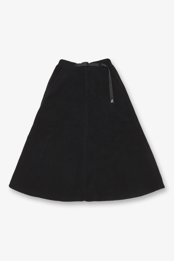 BOA FLEECE LONG FLARE SKIRT BLACK