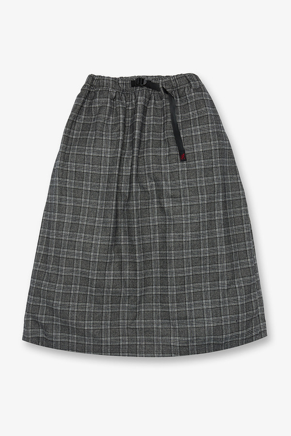 WOOL BLEND LONG FLARE SKIRT GLEN CHECK