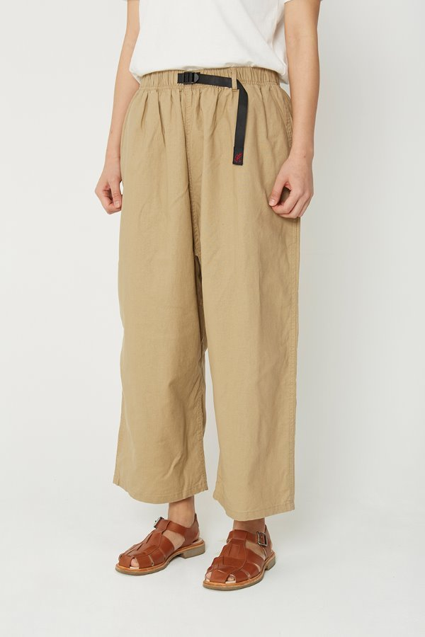 LINEN COTTON BALLOON PANTS KHAKI