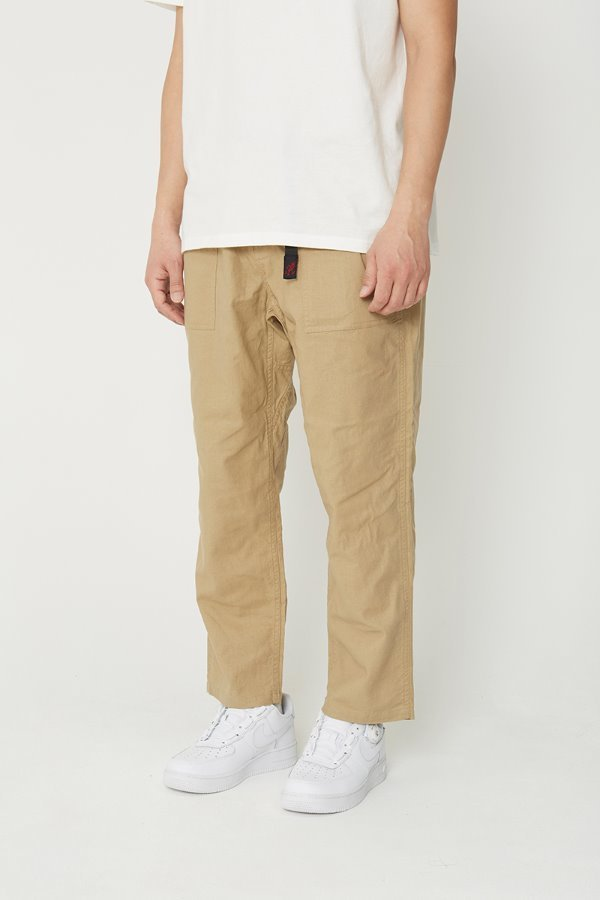 LINEN COTTON LOOSE TAPERED PANTS KHAKI