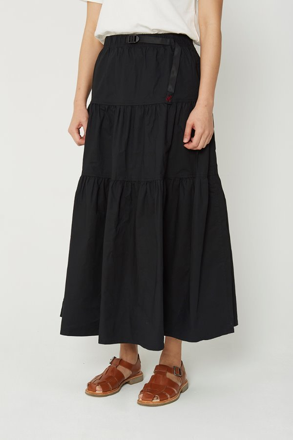 WEATHER TIERED SKIRT BLACK
