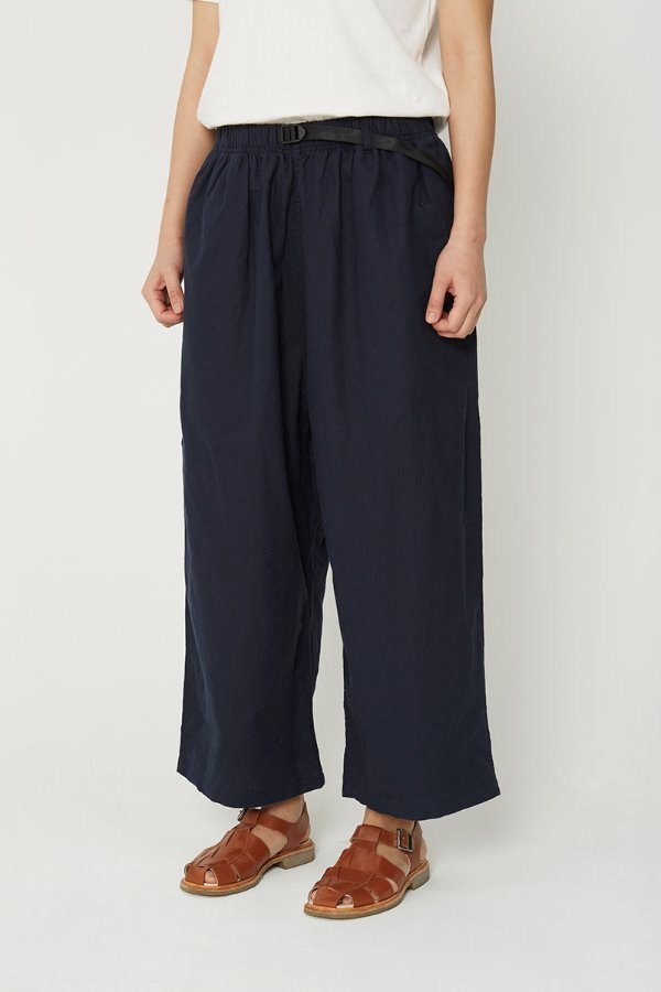 LINEN COTTON BALLOON PANTS DOUBLE NAVY