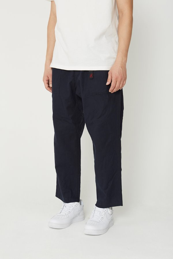 LINEN COTTON LOOSE TAPERED PANTS DOUBLE NAVY