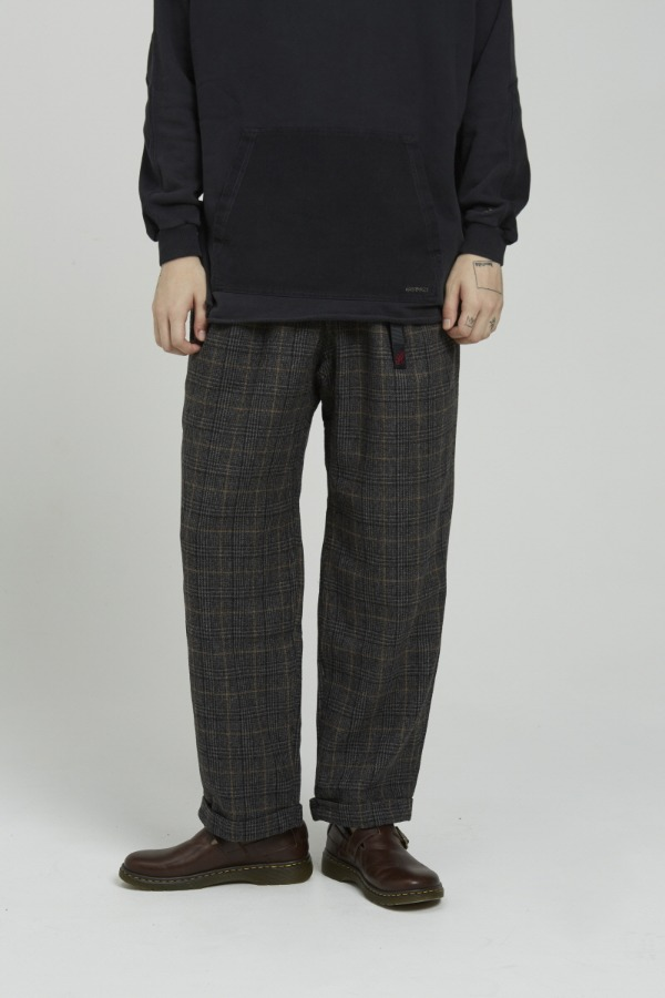 WOOL BLEND TUCK TAPERED PANTS GLEN CHECK GREY