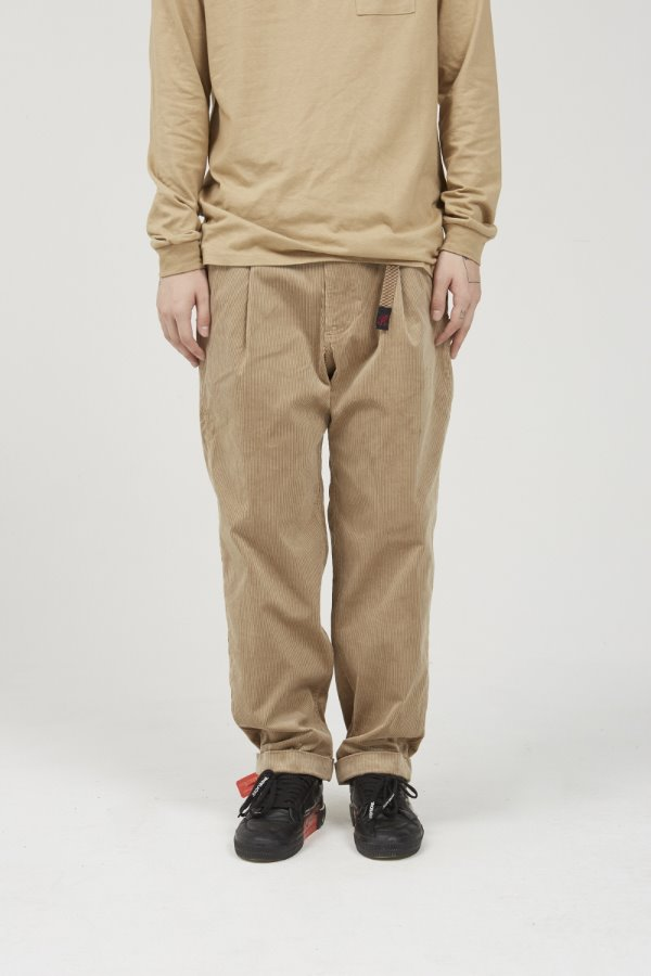 CORDUROY TUCK TAPERED PANTS BEIGE