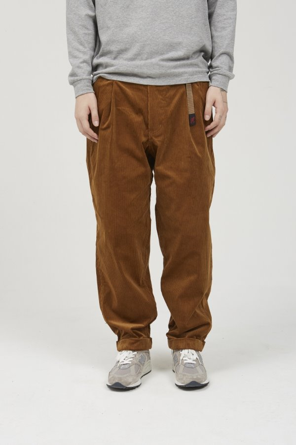 CORDUROY TUCK TAPERED PANTS CAMEL