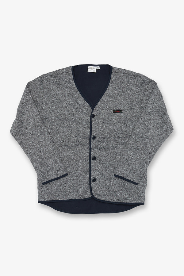 BONDING KNIT FLEECE PIPING BUTTON CARDIGAN GREY x NAVY